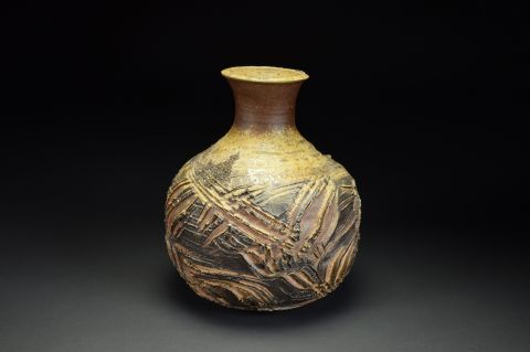 Title: Vase 503. By: Scott Bartolomei Edmonds.  Ceramic, -Stoneware Unglazed, Wood-fired, Wheel thrown Functional, -Vase