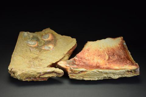 Title: Plate 094. By: Scott Bartolomei Edmonds.  Ceramic, -Stoneware Unglazed, Wood-fired, Hand built, Cast Non-functional, -Sculptural