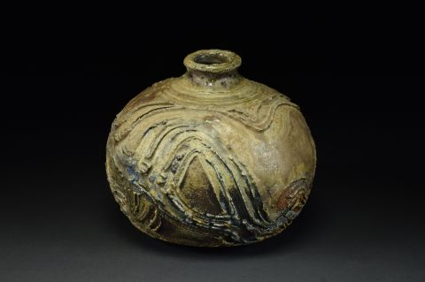 Title: Vase 611. By: Scott Bartolomei Edmonds.  Ceramic, -Stoneware Unglazed, Wood-fired, Wheel thrown Functional, -Vase