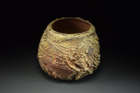 Title: Vase 515. By: Scott Bartolomei Edmonds.  Ceramic, -Stoneware Unglazed, Wood-fired, Wheel thrown Functional, -Vase