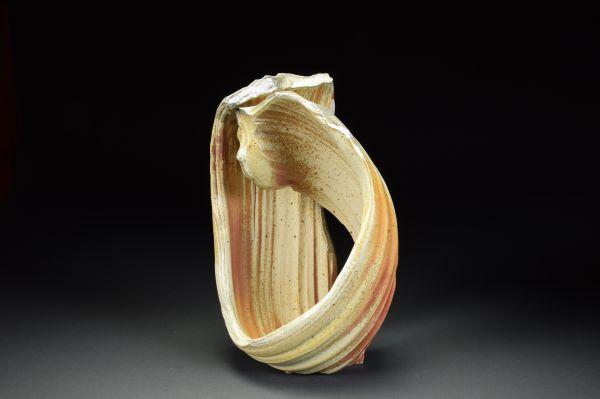 Title: Torus 013. By: Scott Bartolomei Edmonds.  Ceramic, -Porcelain Unglazed, Wood-fired, Wheel thrown Non-functional, -Sculptural