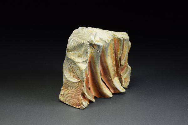 Title: Thrust Plate 003. By: Scott Bartolomei Edmonds.  Ceramic, -Stoneware Unglazed, Wood-fired, Hand built Non-functional, -Sculptural