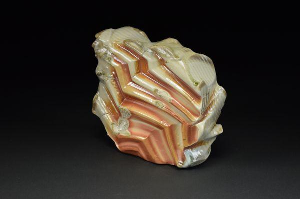 Title: Thrust Plate 006. By: Scott Bartolomei Edmonds.  -Stoneware Unglazed, Wood-fired, Hand built Non-functional, -Sculptural