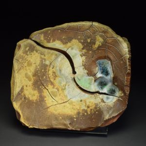 Title: Plate 019. By: Scott Bartolomei Edmonds.  Ceramic, -Stoneware Unglazed, Wood-fired, Hand built Non-functional, -Sculptural