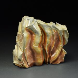 Title: Thrust Plate 001. By: Scott Bartolomei Edmonds.  Ceramic, -Stoneware Unglazed, Wood-fired Non-functional, -Sculptural