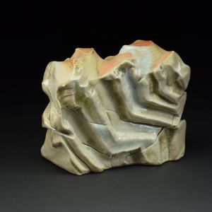 Title: Thrust Plate 007. By: Scott Bartolomei Edmonds.  Ceramic, -Stoneware Unglazed, Wood-fired, Hand built Non-functional, -Sculptural