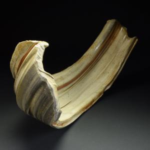 Title: Torus 010. By: Scott Bartolomei Edmonds.  Ceramic, -Porcelain Unglazed, Wood-fired, Wheel thrown Non-functional, -Sculptural
